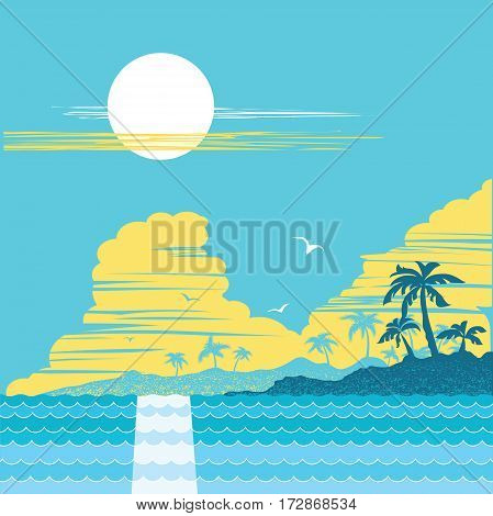 tropical paradise island .Vector palms poster illustration background