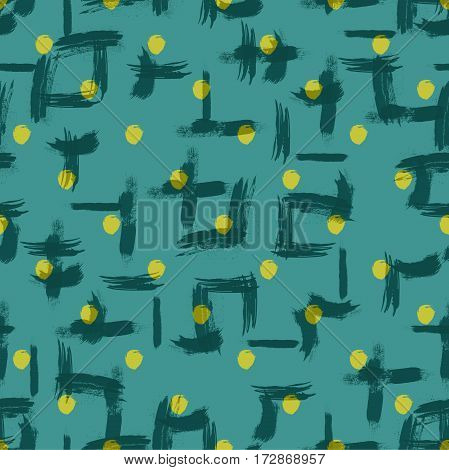 Vector seamless pattern with circles brush strokes. Colorful doodle with polka dot. Grunge background. Abstract hand drawn illustration.