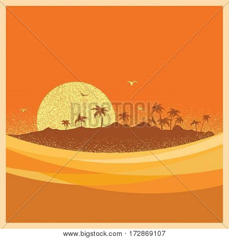 Tropical Island With Palms And Sun.vector Poster