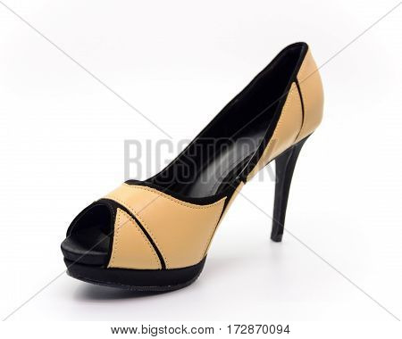 Closeup brown high heel isolated on white background