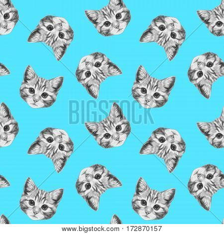 Seamless pattern with hand drawn Cat. Background