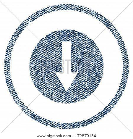 Down Rounded Arrow vector textured icon for overlay watermark stamps. Blue jeans fabric vectorized texture. Symbol with dirty design. Blue ink rubber seal stamp with fiber textile structure.