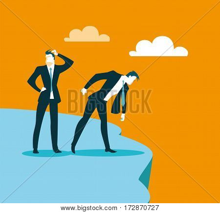We got to the precipice to the impasse. Look down. Vector illustration