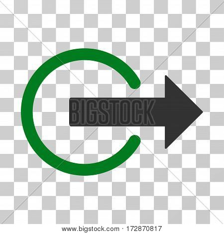 Logout vector pictogram. Illustration style is flat iconic bicolor green and gray symbol on a transparent background.