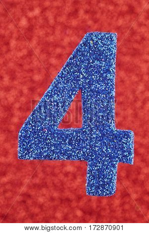 Number four blue color over a red background. Anniversary. Vertical
