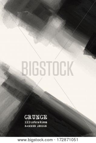 Abstract inkblot background. Monochrome grunge paint design. Vector illustration.