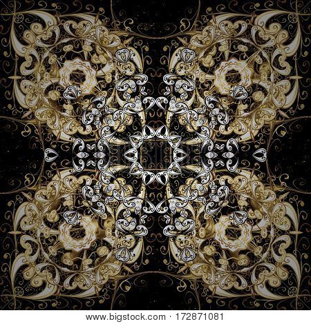 Ornate vector decoration. Damask pattern background for sketch design in the style of Baroque. Golden pattern on black background with golden elements.