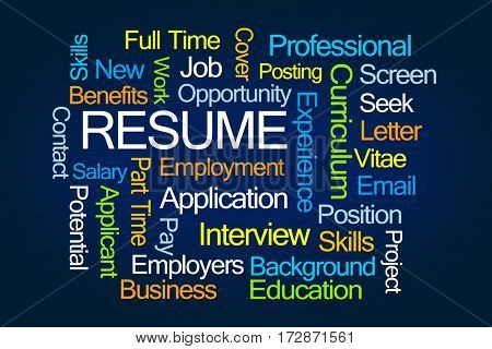 Resume Word Cloud on Blue Background