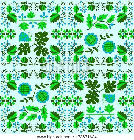 Floral seamless pattern with ladybird and vine. Geometrical background with flat cartoon plants and berries and flowers. Design elemenr for wrapping and textile