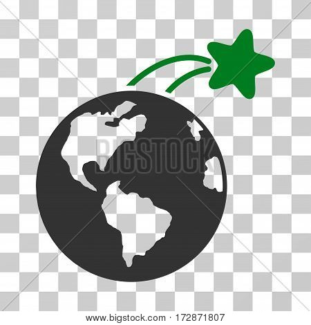 Rising Satellite On Earth vector pictograph. Illustration style is flat iconic bicolor green and gray symbol on a transparent background.