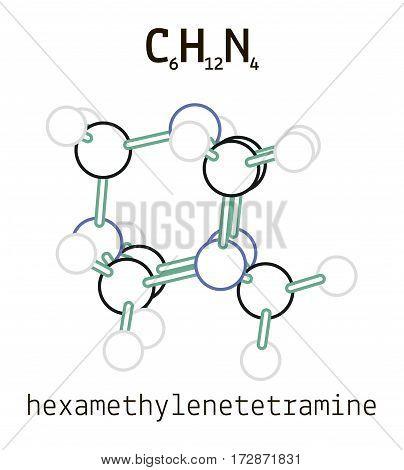 C6H12N4 hexamethylenetetramine 3d molecule isolated on white