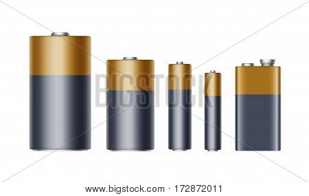 Vector Set of Black Yellow Golden Glossy Alkaline Batteries Of Diffrent size AAA, AA, C, D, PP3 and 9 Volt Battery for branding Close up Isolated on White background