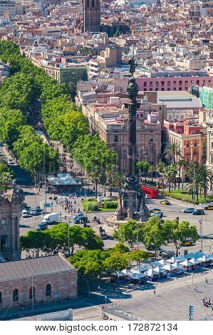 La Rambla in Barcelona against the backdrop of the city panorama, Spain. Aerial view