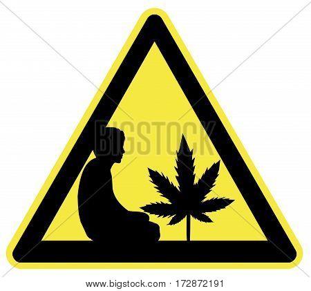 Cannabis Farmer Ahead. Humorous sign for marijuana plantation with stoner