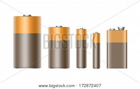 Vector Set of Brown Yellow Golden Glossy Alkaline Batteries Of Diffrent size AAA, AA, C, D, PP3 and 9 Volt Battery for branding Close up Isolated on White background
