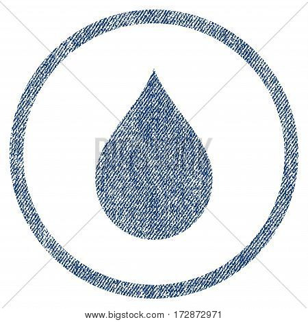 Drop vector textured icon for overlay watermark stamps. Blue jeans fabric vectorized texture. Symbol with dirty design. Blue ink rubber seal stamp with fiber textile structure.