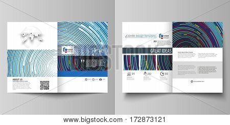 Business templates for bi fold brochure, magazine, flyer, booklet or annual report. Cover design template, easy editable vector, abstract flat layout in A4 size. Blue color background in minimalist style made from colorful circles.