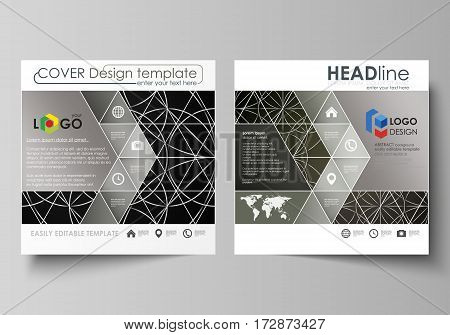 Business templates for square design brochure, magazine, flyer, booklet or annual report. Leaflet cover, abstract flat layout, easy editable vector. Celtic pattern. Abstract ornament, geometric vintage texture, medieval classic ethnic style.