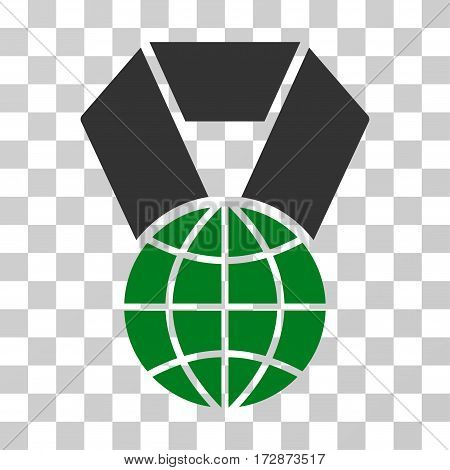 World Award vector pictogram. Illustration style is flat iconic bicolor green and gray symbol on a transparent background.