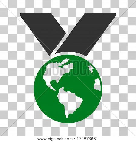 World Medal vector pictograph. Illustration style is flat iconic bicolor green and gray symbol on a transparent background.