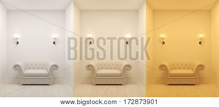6000 4500 3000 kelvin temperature colours 3d rendering image