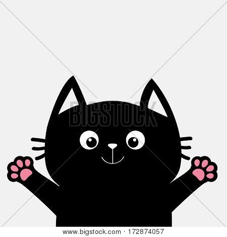 Black cat ready for a hugging. Open hand paw print. Kitty reaching for a hug. Funny Kawaii animal. Baby card. Cute cartoon character. Pet collection. Flat design White background Isolated. Vector