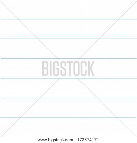 Notebook paper texture lined template. Blank sheet of copybook background. Flat design. Vector illustration