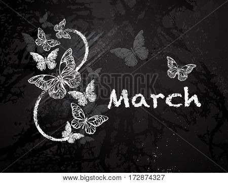 Figure eight eight with butterflies painted black with white chalk on a blackboard. Festival March 8. Women's holiday.