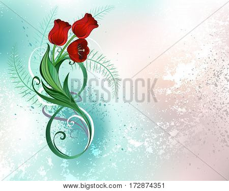 Green figure eight decorated with red tulips and green leaves on a green iridescent background. Festival March 8. Red tulips.