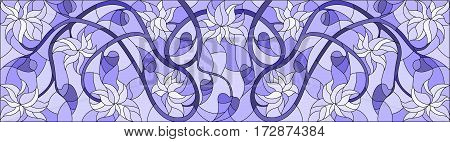 Illustration in stained glass style with abstract swirls flowers and leaves on a light purple background