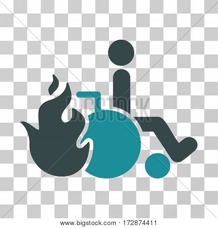 Burn Patient vector pictogram. Illustration style is flat iconic bicolor soft blue symbol on a transparent background.