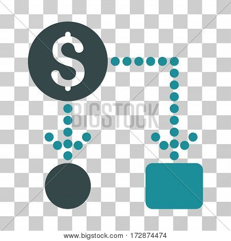 Cashflow vector icon. Illustration style is flat iconic bicolor soft blue symbol on a transparent background.