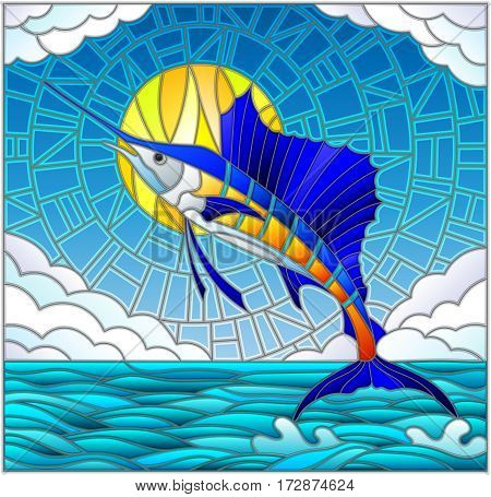 Illustration in stained glass style with a sailfish on the background of water cloud sky and sun