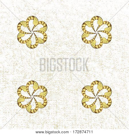 Good for greeting card for birthday invitation or banner. Vector illustration. Gold on white background. Pattern medieval floral royal pattern. Decorative symmetry arabesque.