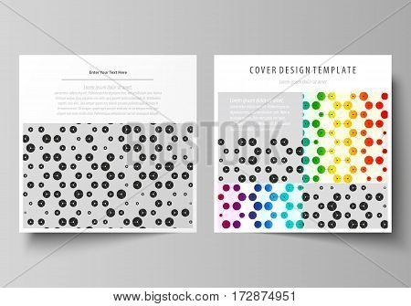 Business templates for square design brochure, magazine, flyer, booklet or annual report. Leaflet cover, abstract flat layout, easy editable vector. Chemistry pattern, hexagonal design molecule structure, scientific, medical DNA research. Geometric colorf