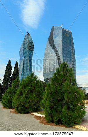 Skyscrapers Socar Tower And Azersu Office Tower In Baku