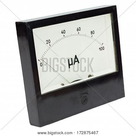 Black square analog ampermeter isolated on white background with 2 uA reading on scale.