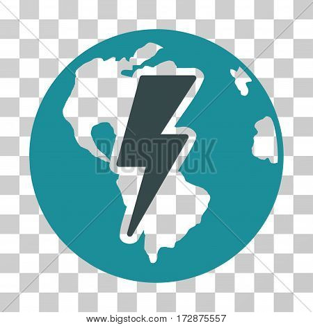 Earth Shock vector pictograph. Illustration style is flat iconic bicolor soft blue symbol on a transparent background.