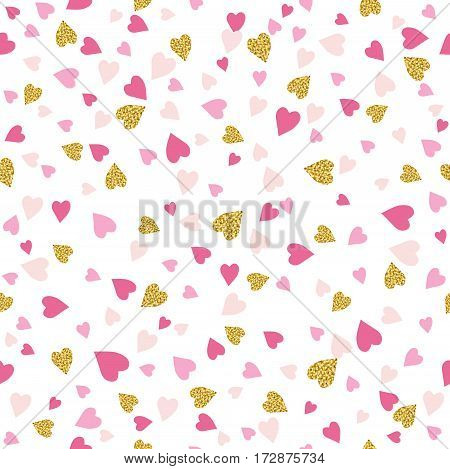 Seamless background with golden and pink valentine hearts vector illustration. Ideal for printing onto fabric and paper or scrap booking