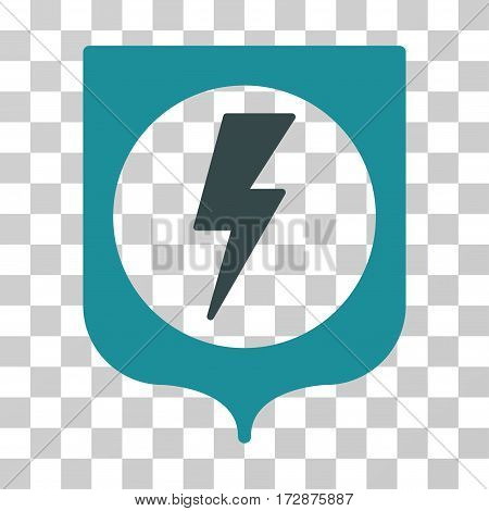 Electric Protection vector icon. Illustration style is flat iconic bicolor soft blue symbol on a transparent background.