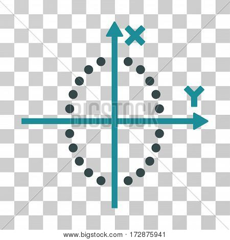 Ellipse Plot vector icon. Illustration style is flat iconic bicolor soft blue symbol on a transparent background.