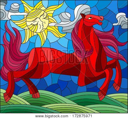 Illustration in stained glass style with fabulous red horse galloping on the green meadow on the background of the cloudy sky and sun
