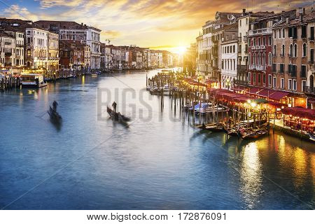 famous grand canale from Rialto Bridge at blue hour Venice Italy