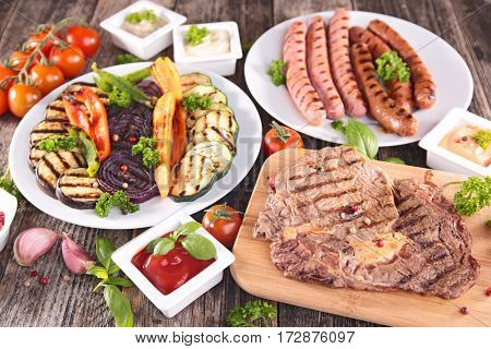 assorted barbecue meat and vegetables