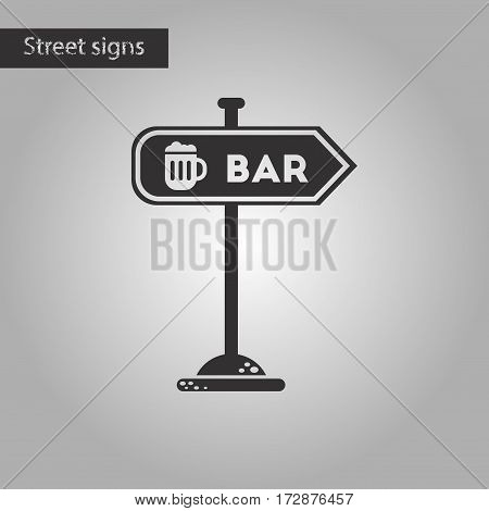 black and white style icon of sign of bar