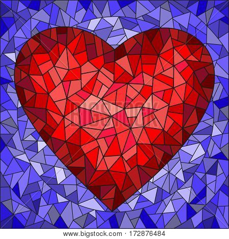 Illustration in stained glass style with red heart on blue background