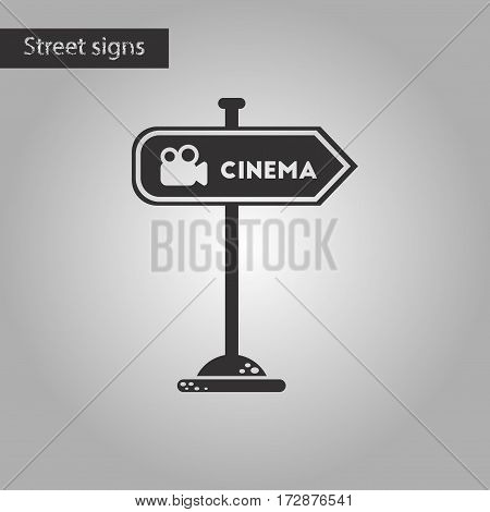black and white style icon of cinema sign