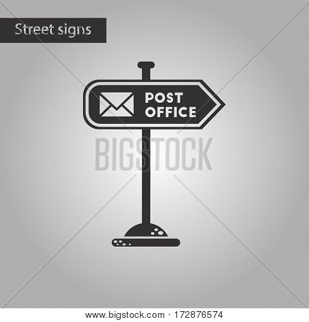 black and white style icon of sign post office