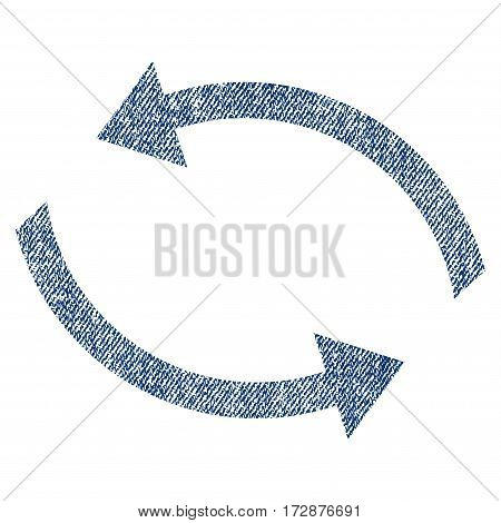 Exchange Arrows vector textured icon for overlay watermark stamps. Blue jeans fabric vectorized texture. Symbol with unclean design. Blue ink rubber seal stamp with fiber textile structure.