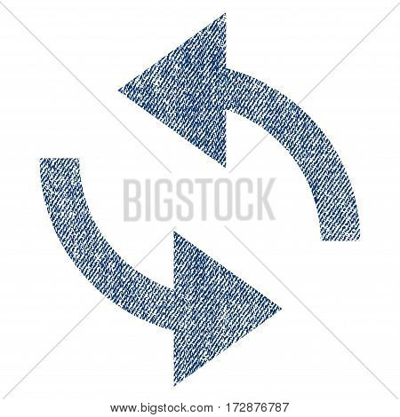 Exchange Arrows vector textured icon for overlay watermark stamps. Blue jeans fabric vectorized texture. Symbol with dust design. Blue ink rubber seal stamp with fiber textile structure.